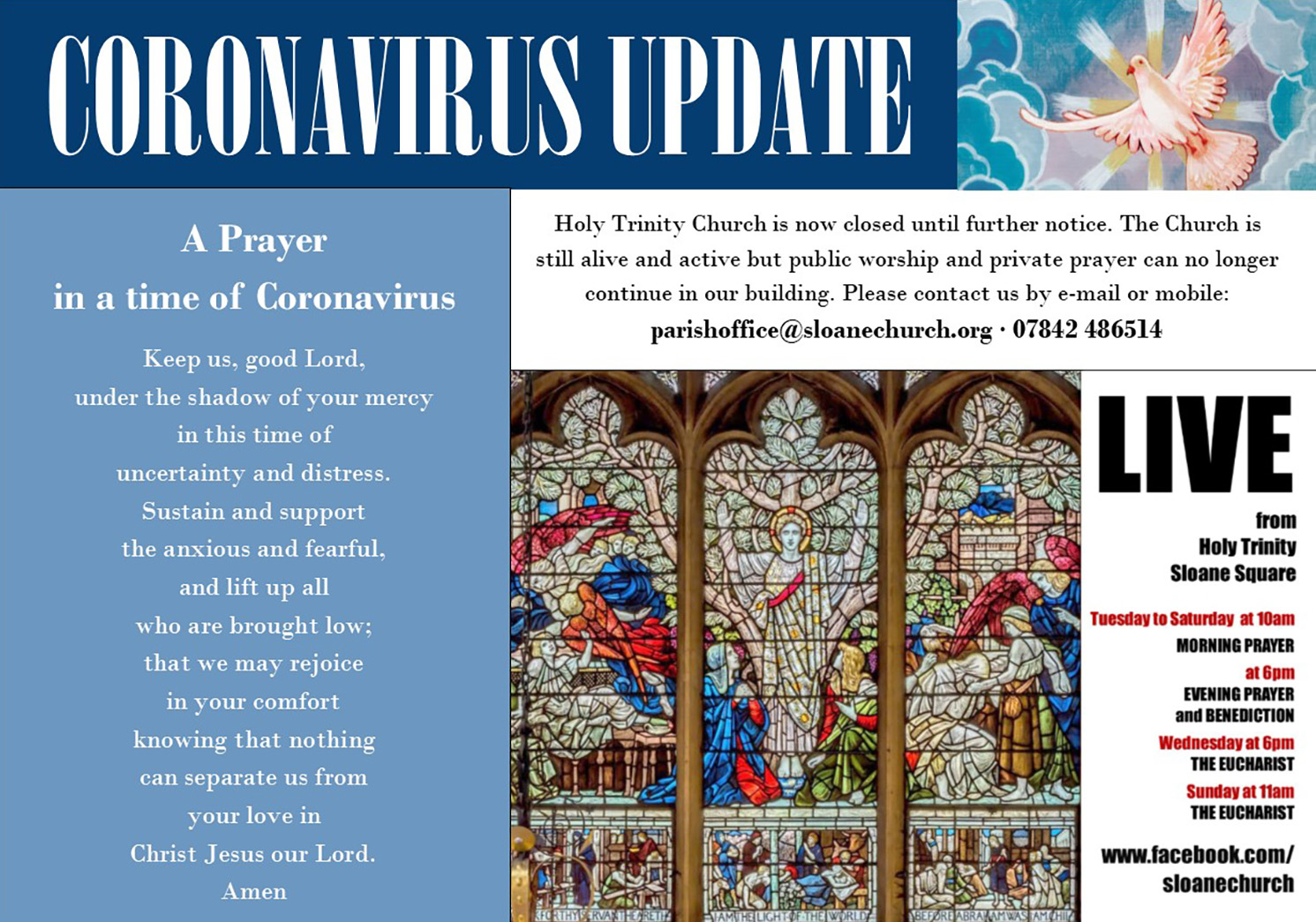 Coronavirus Update: Holy Trinity Church is now closed until further notice
